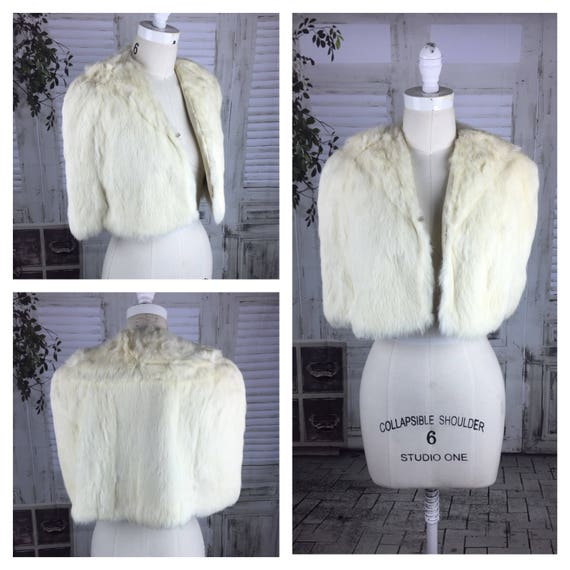 Original 1940s Vintage Coney Fur Bolero Cloak Cape