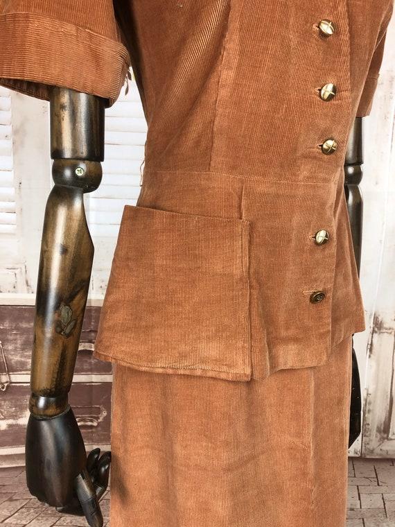 Original 1940s 40s Vintage Rust Corduroy Summer S… - image 7