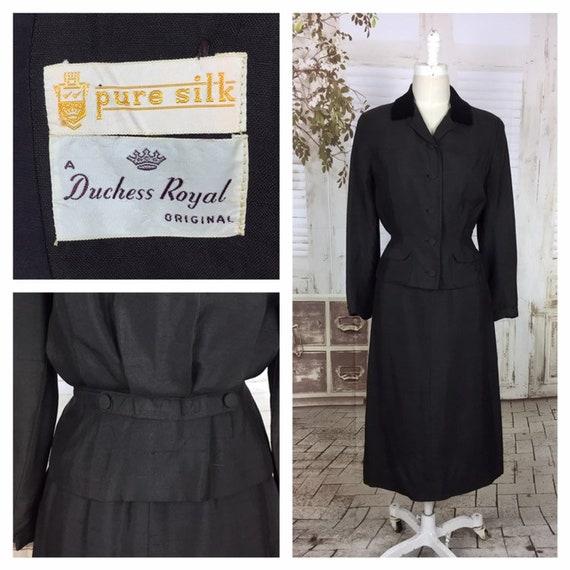 Original 1940s 40s Brown Slubbed Silk Skirt Suit W
