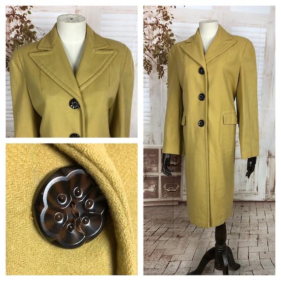 Original 1940s 40s Vintage Chartreuse Mustard Wool