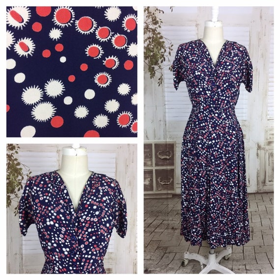Original 1940s Vintage Navy Blue Red And White Ray