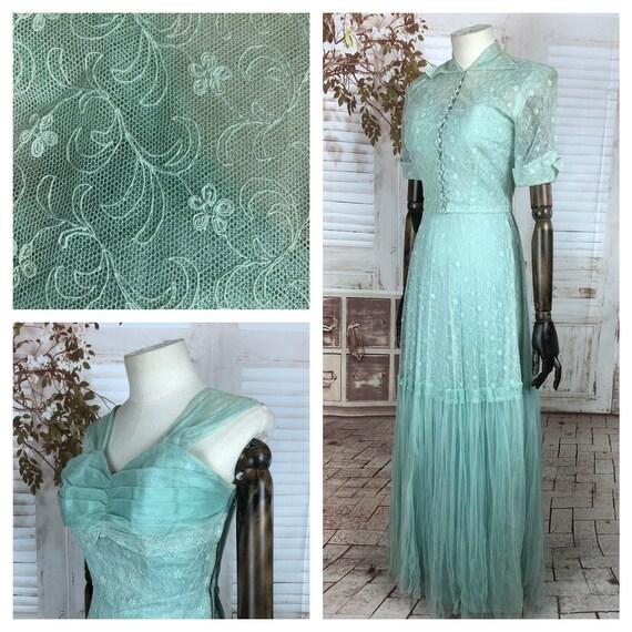 Original 1940s 40s Vintage Mint Green Lace Gown An