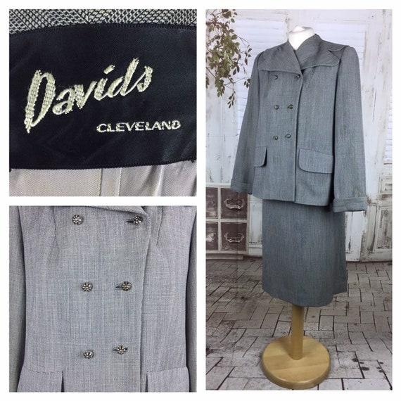 Original 1940s Vintage Grey Check Davids Double Br