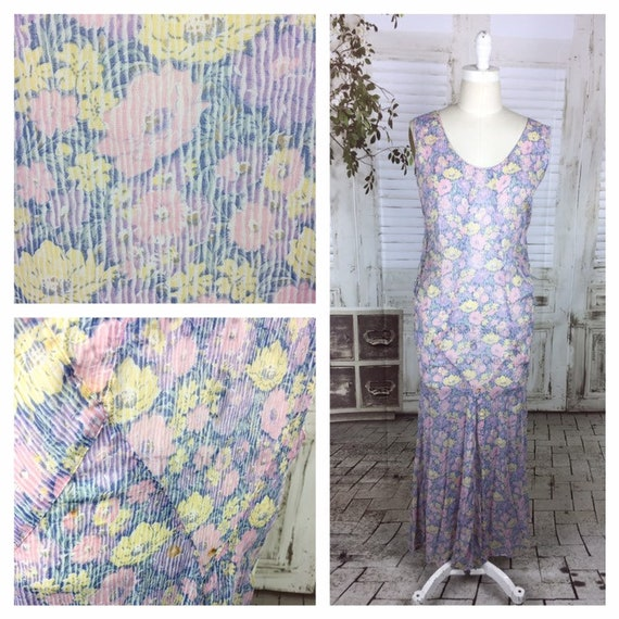 Original 1930s Lawn Cotton Purple Pink Yellow Flor