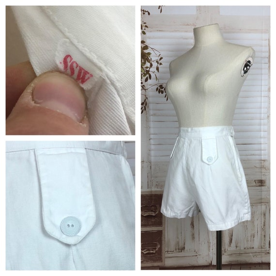 Original 1940s 40s Vintage White Cotton Shorts