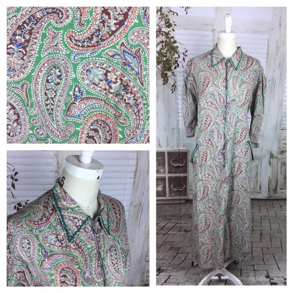 Original 1950s Volup Vintage Green Paisley Housedr