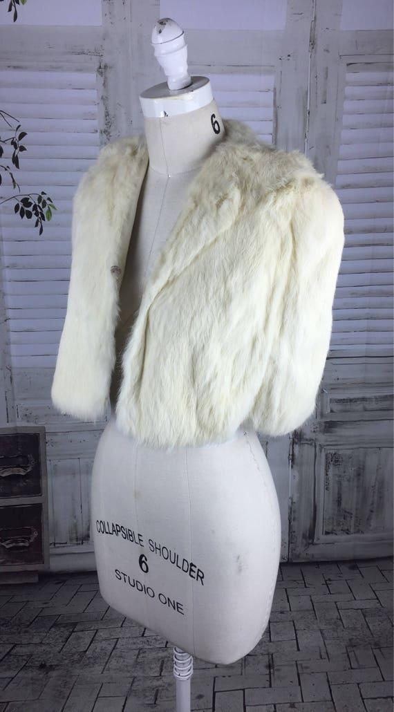 Original 1940s Vintage Coney Fur Bolero Cloak Cape - image 5