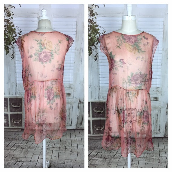 Original 1920s Pink Floral Vintage Georgette Dress