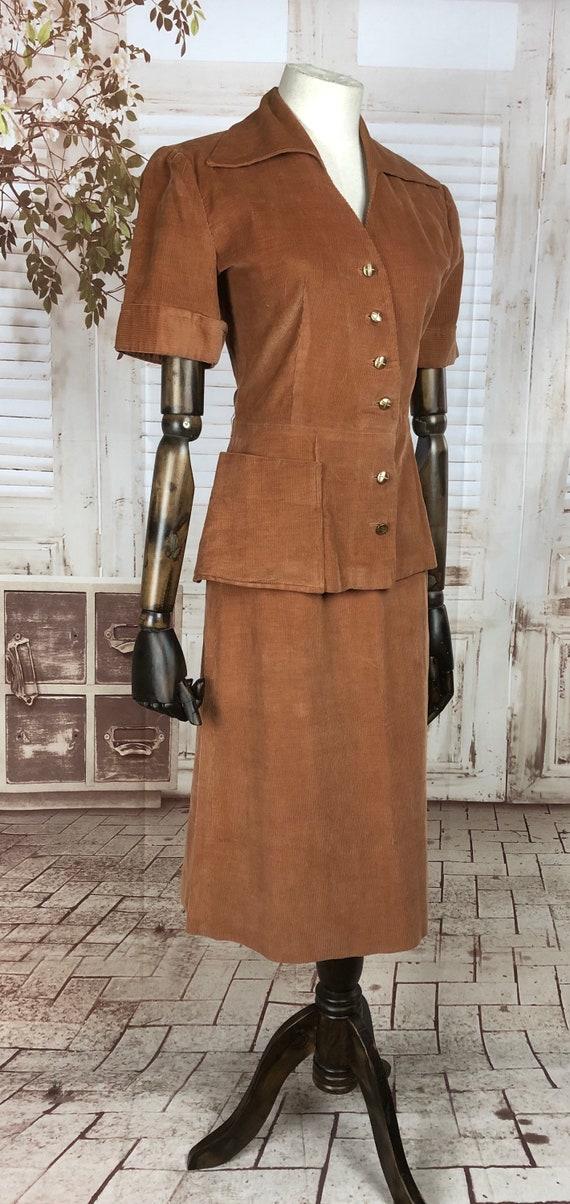 Original 1940s 40s Vintage Rust Corduroy Summer S… - image 3