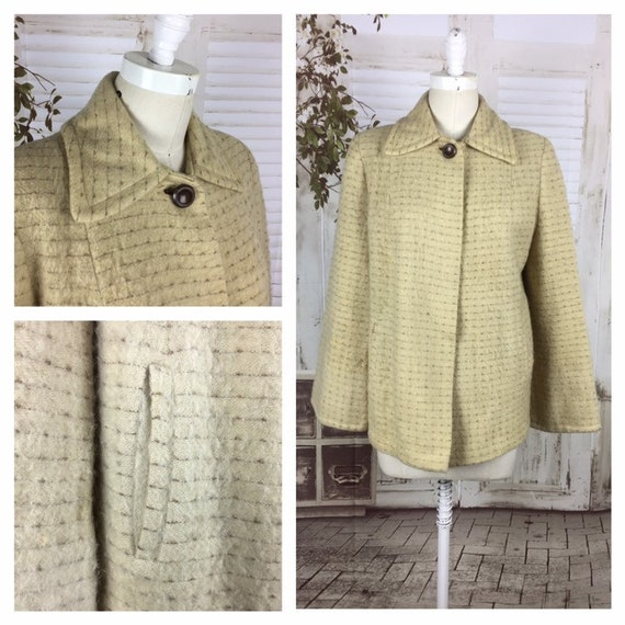 1940s Cream and Brown Swing Coat Jacket