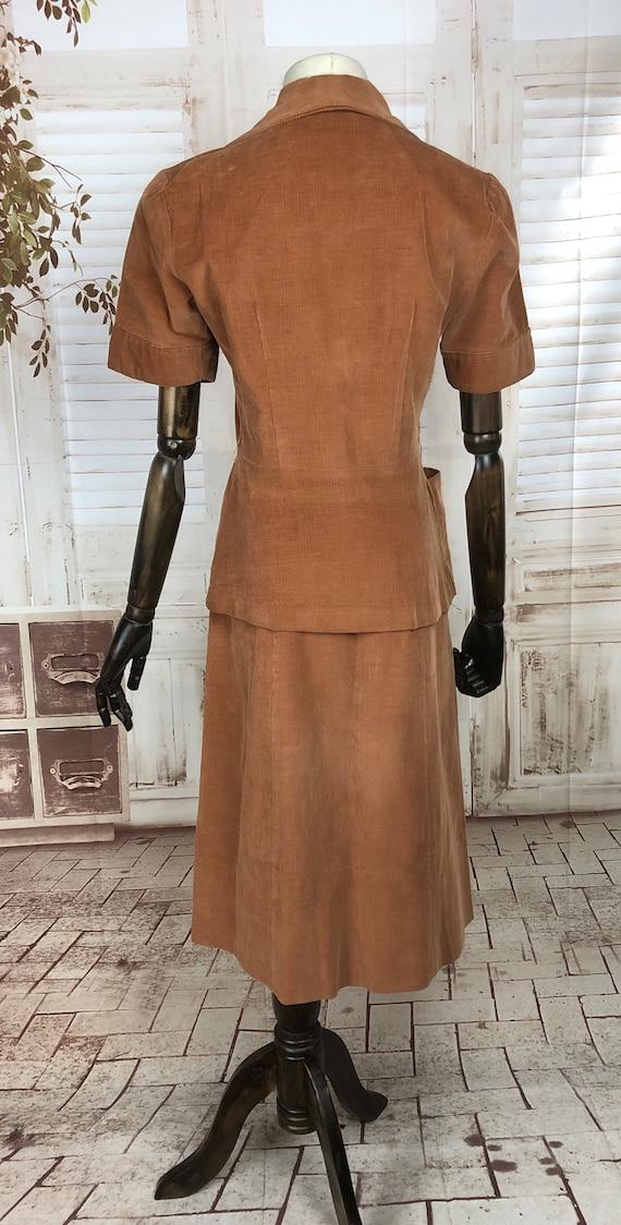 Original 1940s 40s Vintage Rust Corduroy Summer S… - image 5