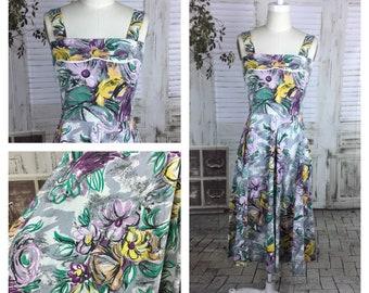 Original 1950s Vintage Abstract Flower Print Summer Dress