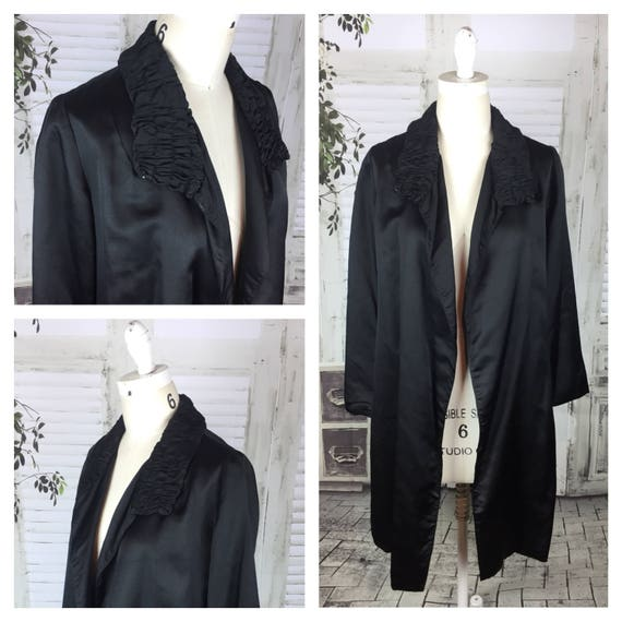 Original Vintage 1940's Black Satin Evening Jacket