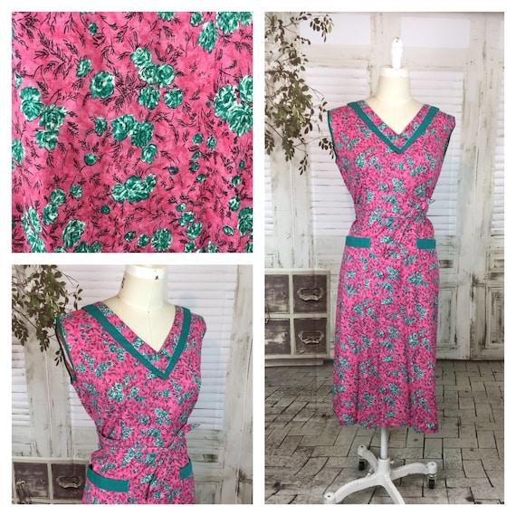 Original 1950s Vintage Pink And Green Housedress N