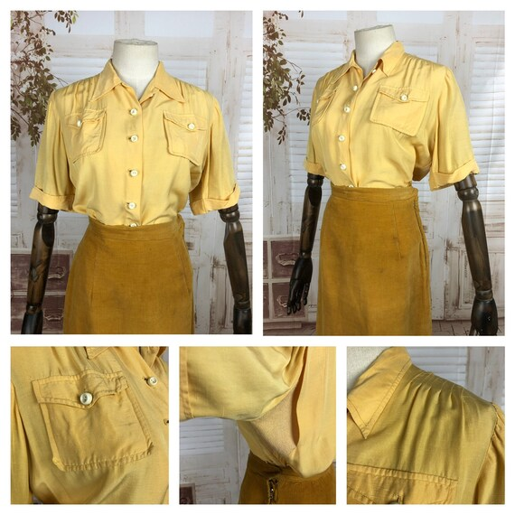 Original Vintage 1940s 40s Mustard Yellow Blouse W