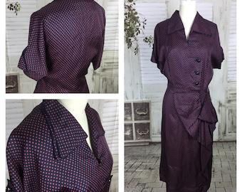 Reserved - Please Do Not Purchase - Original Vintage 1940s Blue And Red Polka Dot Dress With Asymmetric Buttons