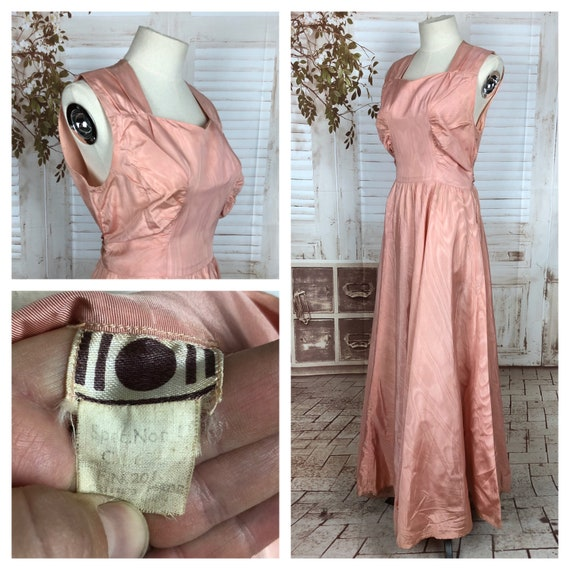 Original 1940s 40s Vintage Pink Taffeta Evening Dr