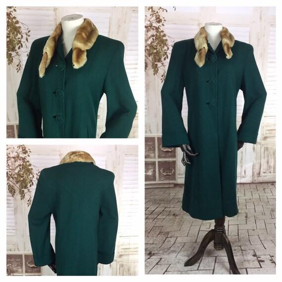 Original 1940s 40s Vintage Emerald Green Wool Coat