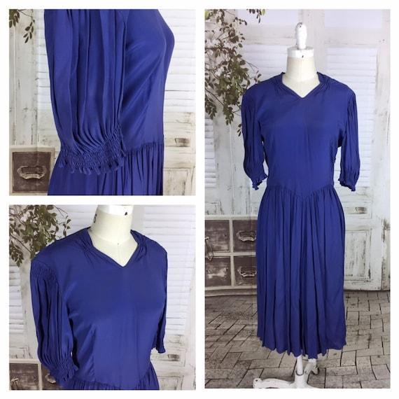 Original 1930s Rayon Crepe Vintage Blue Day Dress