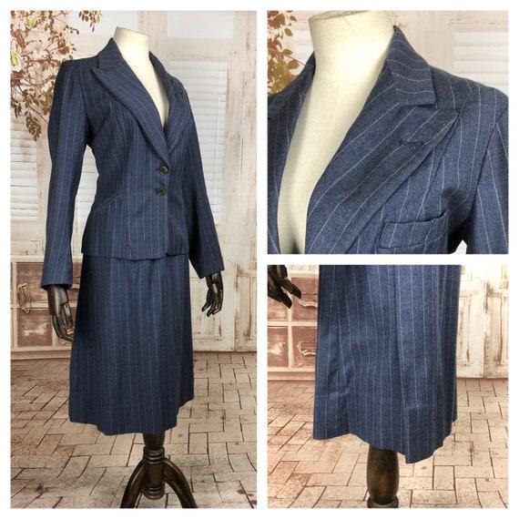 Original 1930s 30s Vintage Blue Pinstripe Wool Sui