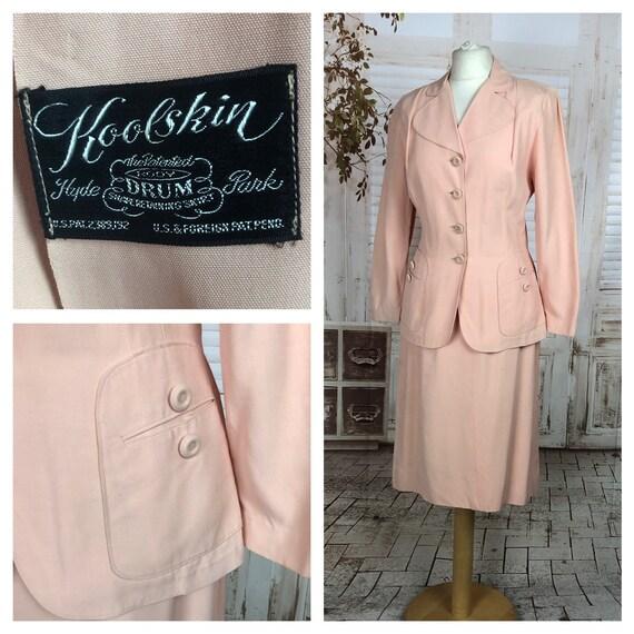 Original 1940s 40s Vintage Pink Starched Cotton Su
