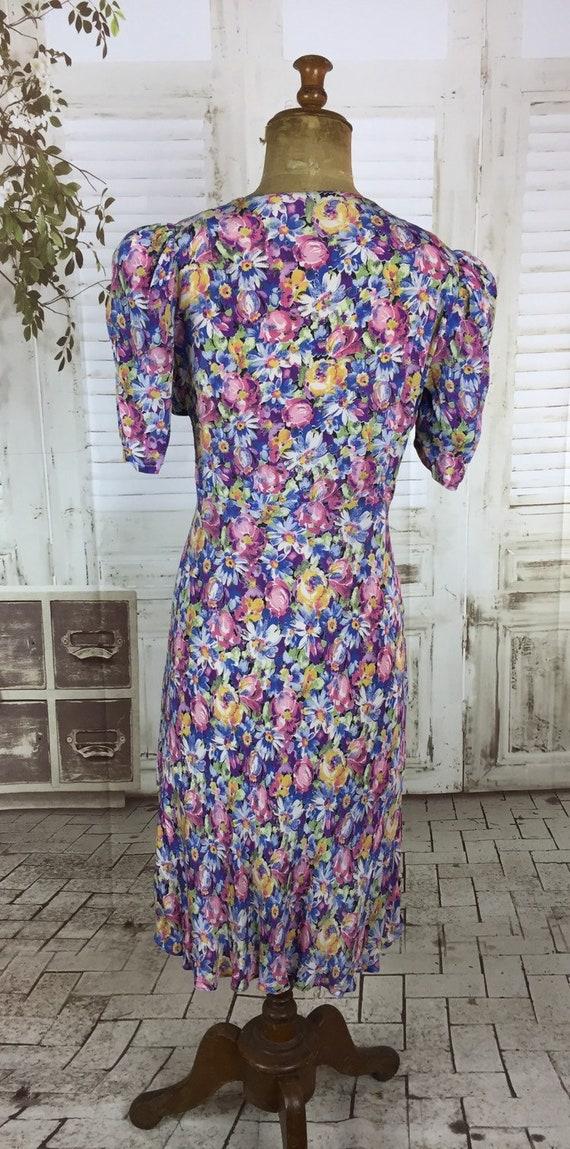 Original 1930s Vintage Floral Rayon Dress Puff Sh… - image 8