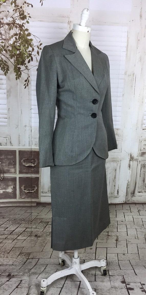 Original 1940s Grey Wool Vintage Skirt Suit Black… - image 3