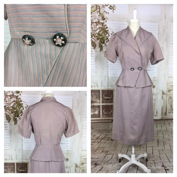 Original 1950s 50s Vintage Pink Blue Pastel Faille