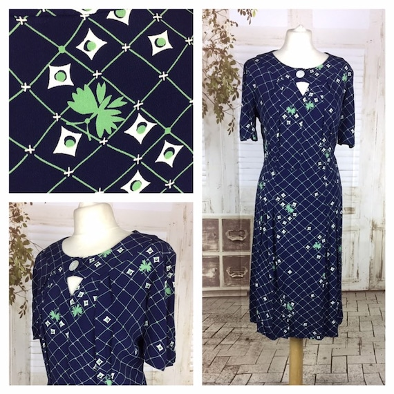 Original Late 1930s 30s Vintage Novelty Print Navy