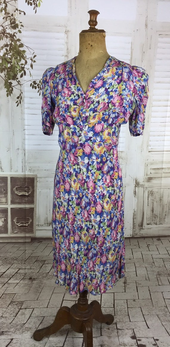 Original 1930s Vintage Floral Rayon Dress Puff Sh… - image 5