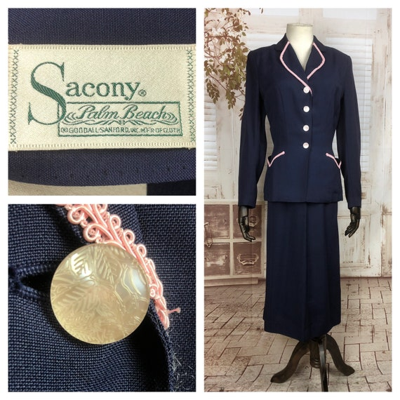 Original 1940s 40s Vintage Navy Blue Cotton Summer