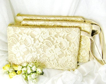 Set of 3  Bridesmaid clutch, linen lace clutch, bridesmaid gift wedding gift, Makep bag ivory white lace purse rustic simple zipper CL904