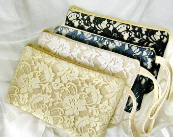 Set of 6 Bridesmaid clutch, linen lace clutch, bridesmaid gift wedding gift, Makep bag ivory white lace purse rustic simple zipper CL904