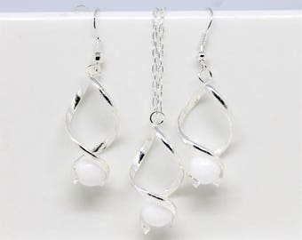 Set of jewelry set necklace + earrings 925 sterling silver Twist and White Jade bridal wedding party