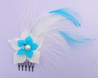 Small bridal hair jewelry comb silk flower and feather wedding
