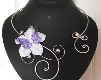 Bridal necklace, wedding necklace white and Purple Butterfly personalized necklace