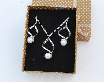 Set necklace + earrings 925 sterling silver Twist and wedding evening bridal white glass beads