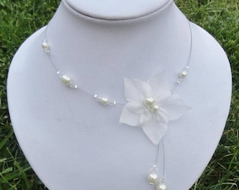 Bridal necklace, wedding evening ivory wedding silk flower & glass beads