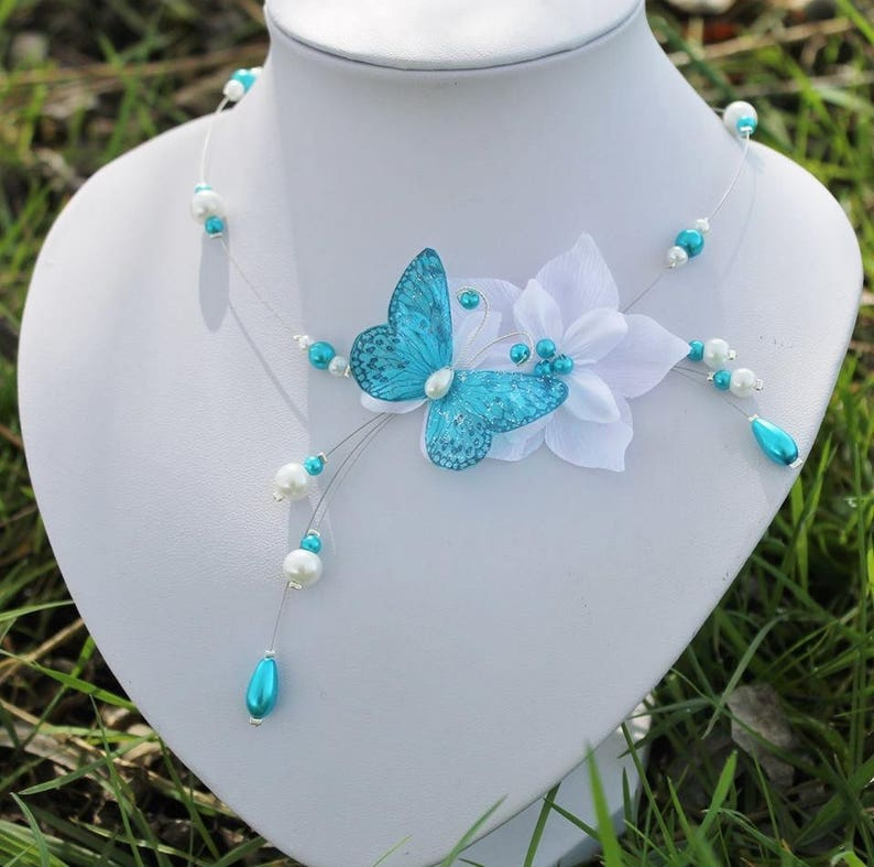 Set of bridal jewelry set wedding flower and white turquoise Butterfly wedding necklace bracelet and earrings