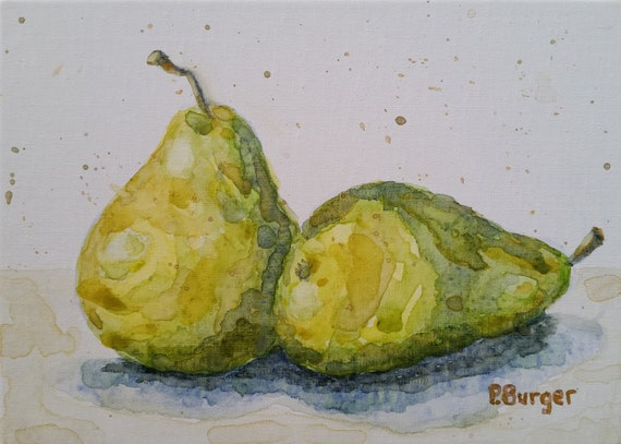 Watercolor Original Painting Still Life Pears and Persimmons 6.5X17.5
