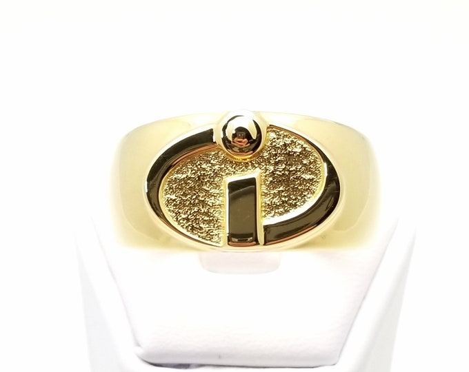 """Oval Yin/Yang """"i"""" Ring 18k Gold Plated"""