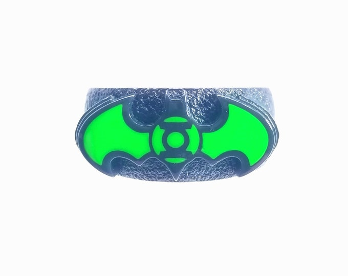 Green and Black Bat ring