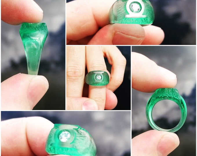 Green ring of willpower (Ladies or Small) Krypton Design - Hand Carved
