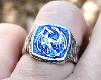 Belowing Dragoncrest Ring - .995 silver with blue nano-ceramic coating