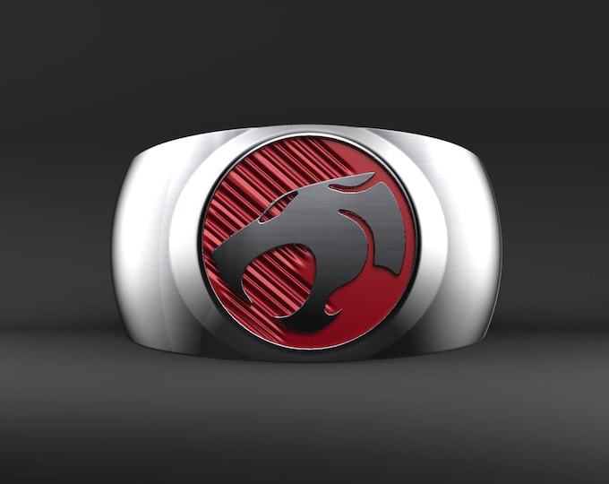 Silver and Red Lion Ring - .995 Silver with red enameled background.