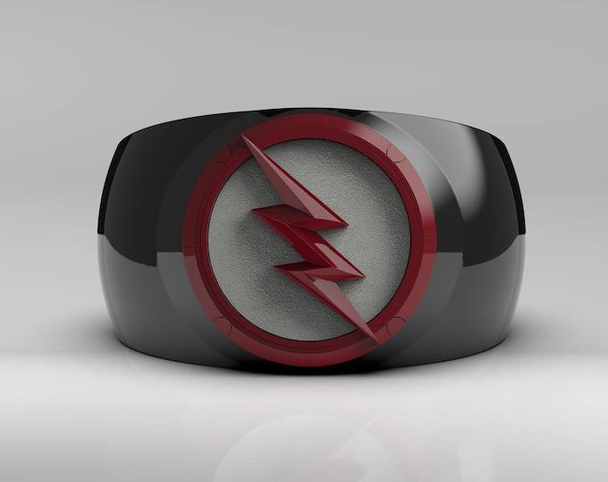 Black/Red Lightning Ring - Ceramic coated, enameled background