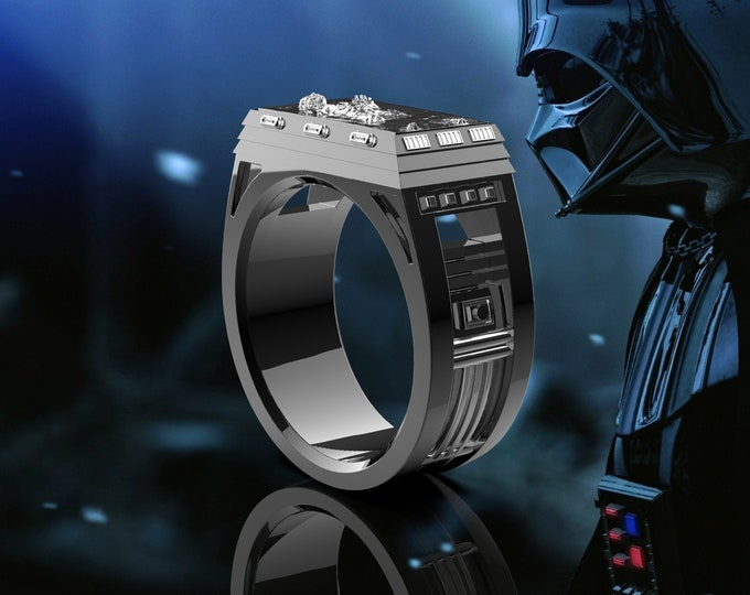 Han Carbonite Ring .995 silver with black ceramic coating