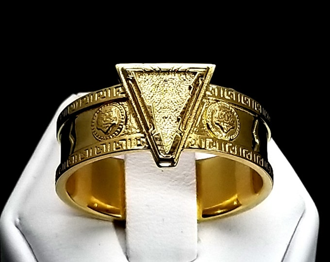 Aztec Tiger and Lightning Ring 18K Gold Plated