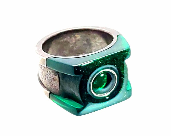 3 Piece Green Resin & Silver Ring
