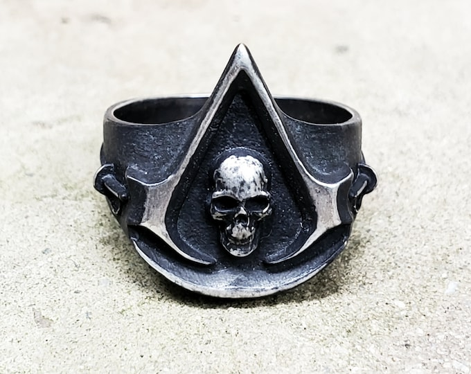 Assassin Pirate Ring .995 Silver with Black Patina